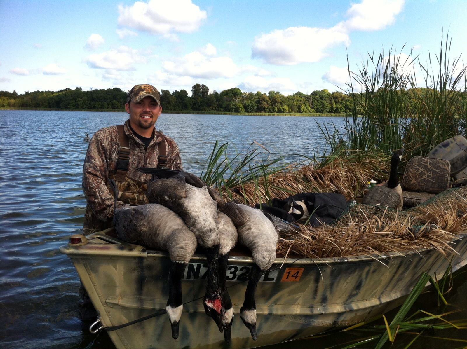 Trevor with some geese on his boat blind